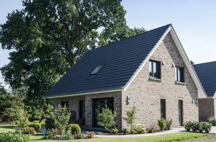 Einfamilienhaus mit besonderer Farbkombination